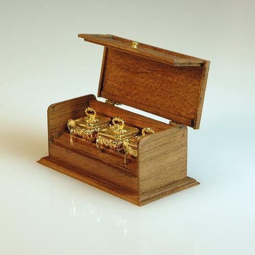 Gold Tea Set/Wood Case