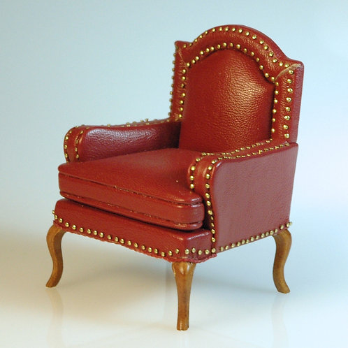 Red Leather Chair with Rivets by JBM