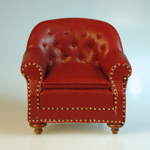 Tufted Red Leather Chair By JBM