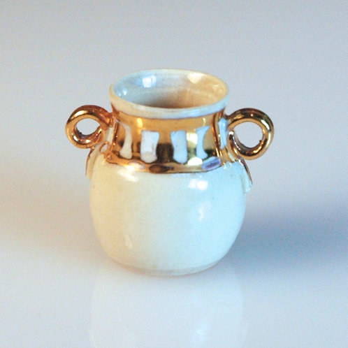 Double Handled Gold/White Jar by Craig Roberts