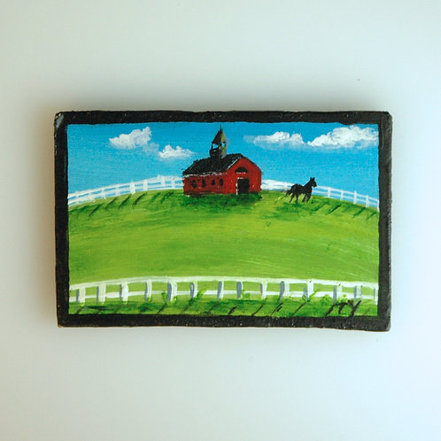 Folk Art Red Barn Painting