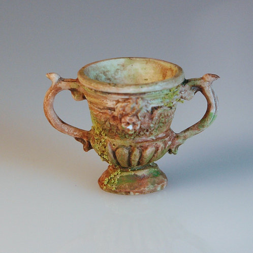 Brown Urn with Moss and Handles