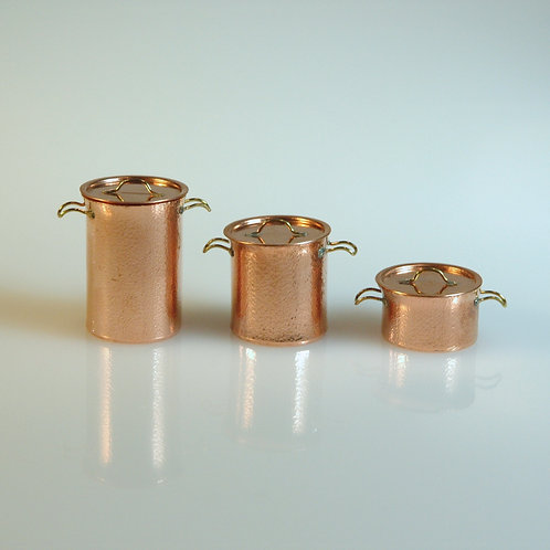 Hammered Copper Pot Set of 3