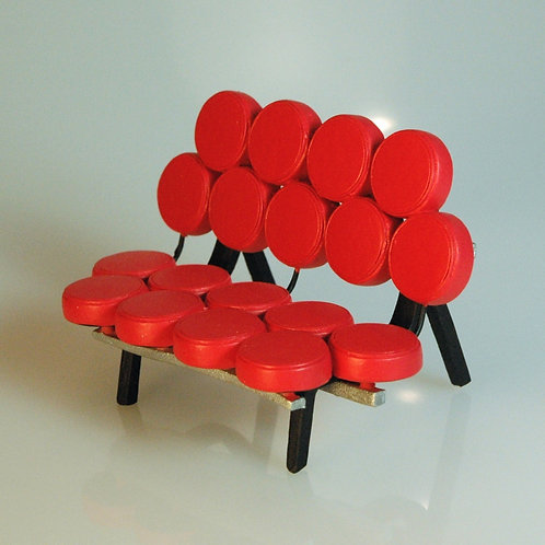 George Nelson Inspired Marshmallow Red Settee