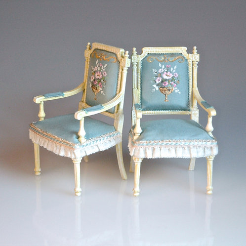 Handpainted Chairs Pair