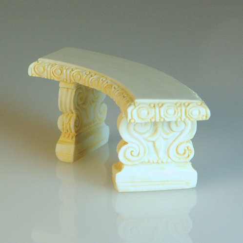 Curved Ivory Garden Bench