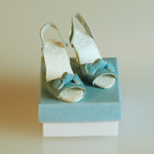 Blue Shoes with a Bow and Box