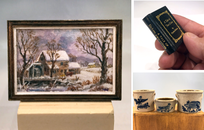 Miniature Dollhouse Paintings, Books and Pottery
