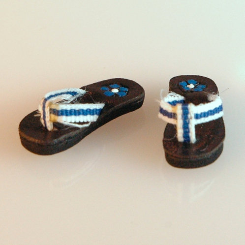 Blue and White Sandals