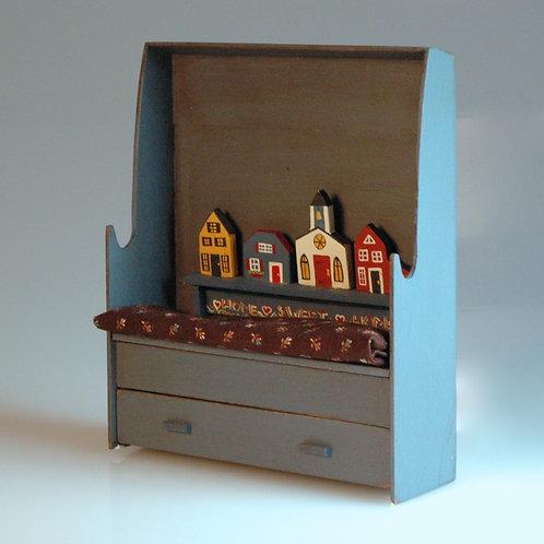 Folk Art Bench with Drawer