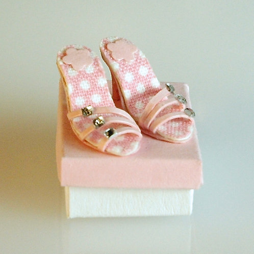 Pink and White Polka Dot Shoes and Box