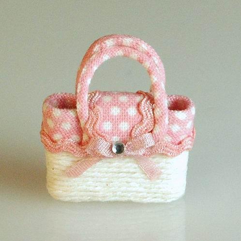 Pink and White Polka Dot Bag
