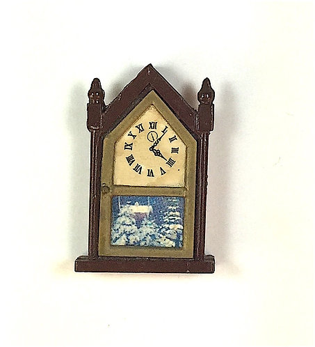 Metal Mantle Clock with Snow Scene