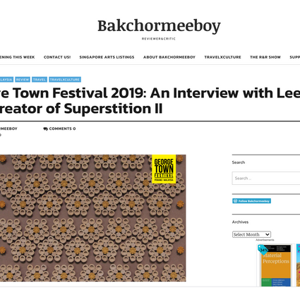 George Town Festival 2019: An Interview with Lee Mok Yee, Creator of Superstition II