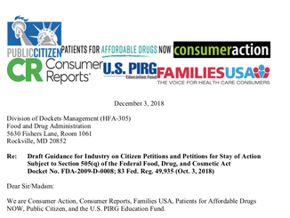 Consumer Groups Urge FDA to Ensure Citizen Petitions Are Not Abused to Block Drug Access