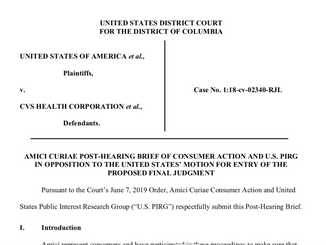 Consumer Groups Submit Brief Opposing CVS-Aetna Merger, Saying Final Judgment Is Totally Inadequate