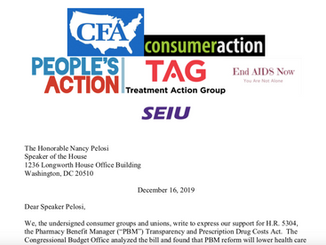 Consumer Groups and Unions Submit Letter in Support of PBM Bill Lowering Drug Prices