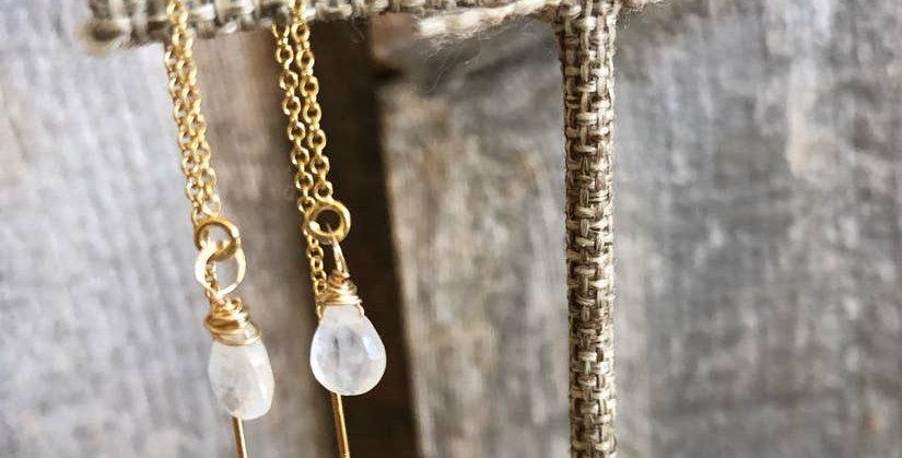 Threader Earrings with Moonstone Drop