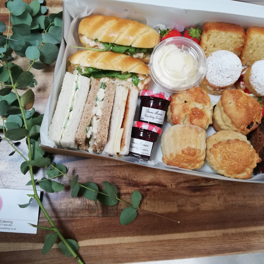 Inside afternoon tea box