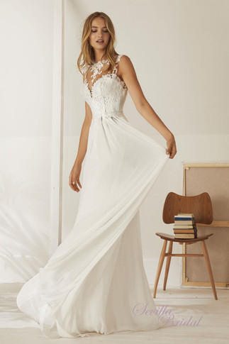 西班牙品牌Pronovias-White One透視背心V背輕婚紗1.jpg