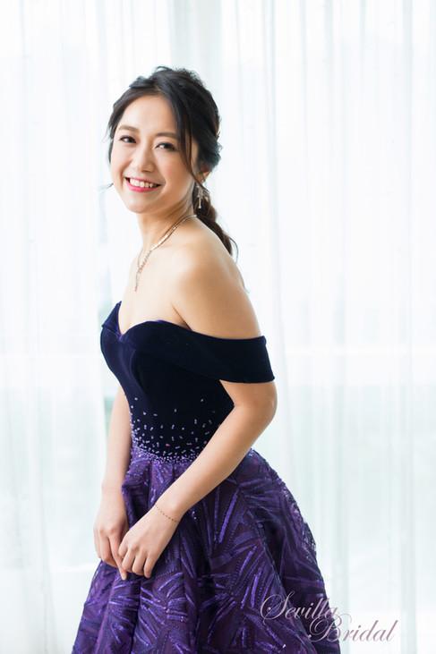 高貴深紫羅蘭色晚裝