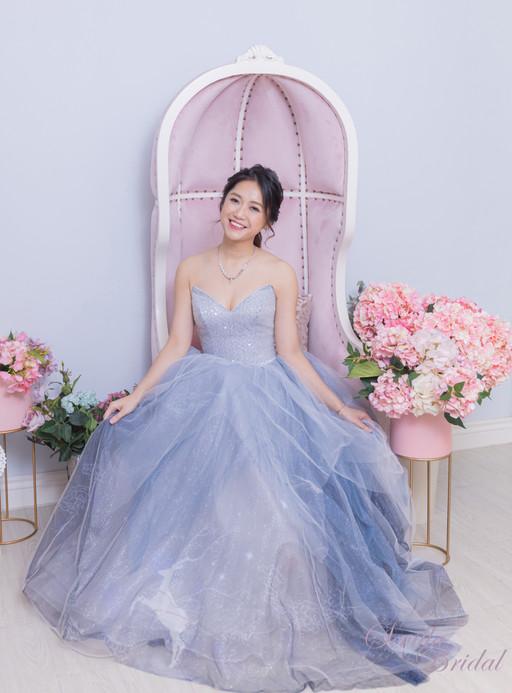 粉紫藍色浪漫小鹿晚裝
