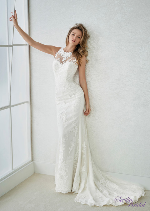 西班牙品牌Pronovias-White One入膊透視菱形背輕婚紗1.jpg