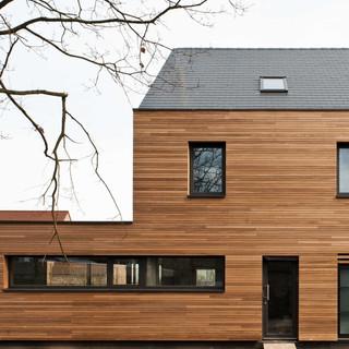 Houtskeletbouw laagenergie  Ayous gevelbekleding - Project G Melle_Architect De Lange_Stab