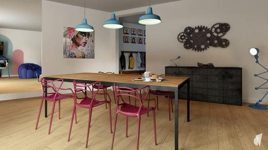 Aménagement et décoration d'un loft industriel street art à Genève, par le Studio Coralie Vasseur. Coralie Vasseur est votre architecte d'intérieur et décoratrice UFDI à Annecy, Genève et en Haute Savoie : salle à manger avec éléments de couleurs et meuble de métier