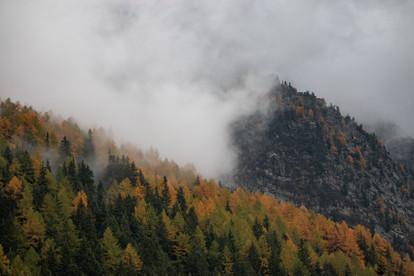 Paysage mystique d'automne avec les montagnes dans les nuages