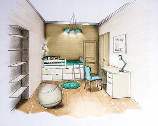 Dessin d'un projet de chambre d'enfant par Carnets Libellule, Décoratrice UFDI sur Paris