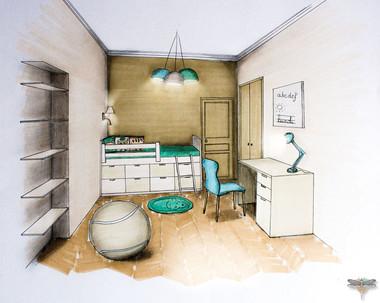 Croquis d'une chambre d'enfant en couleur, réalisé à la main avec rotring et promarker. Coralie Vasseur est votre décoratrice d'intérieur UFDI à Compiegne, Paris, Lille, Lyon, Annecy, Bordeaux. Carnets Libellule dessine vos intérieurs