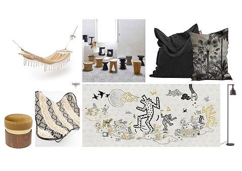 Planche d'ambiance de la salle de pause et de repos, graphique et décontractée avec poufs et hamac