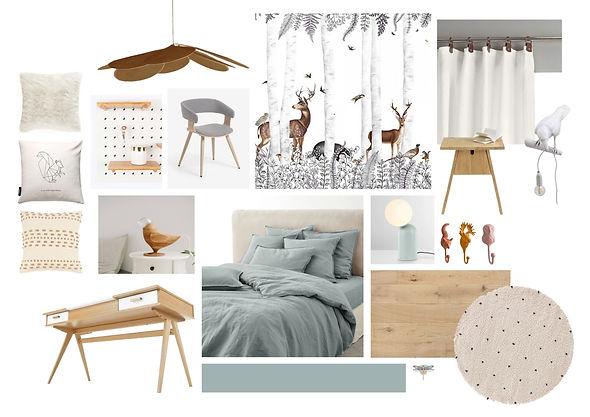 Mood board d'une chambre de fille aux couleurs douces et aux clins d'oeil faisant écho à la forêt avec luminaires en forme d'oiseaux