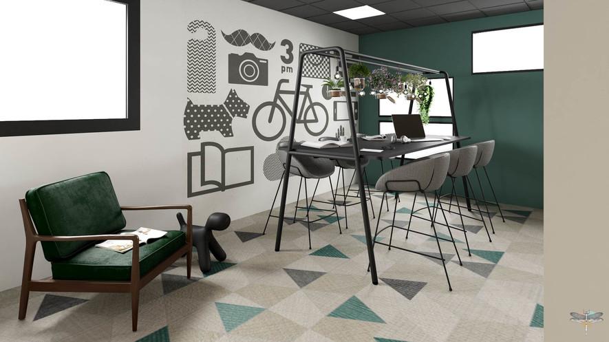 Aménagement et décoration d'un espace de bureaux professionnels à Lille par Carnets Libellule. Coralie Vasseur est votre architecte d'intérieur UFDI à Compiegne : espace de co-création et brainstorming, mur graphique et table pour travailler assis ou debout. Espace calme et propice aux échanges
