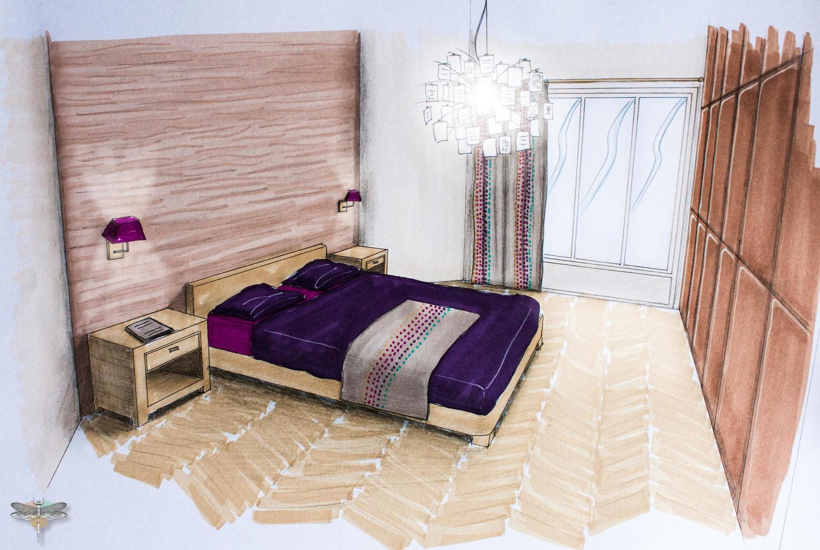 Croquis d\'une chambre parentale en perspective, mise en couleur et ...