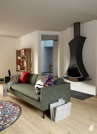Aménagement et décoration d'un loft industriel street art à Genève, par le Studio Coralie Vasseur. Coralie Vasseur est votre architecte d'intérieur et décoratrice UFDI à Annecy, Genève et en Haute Savoie : poêle suspendu dans le salon avec canapé gris