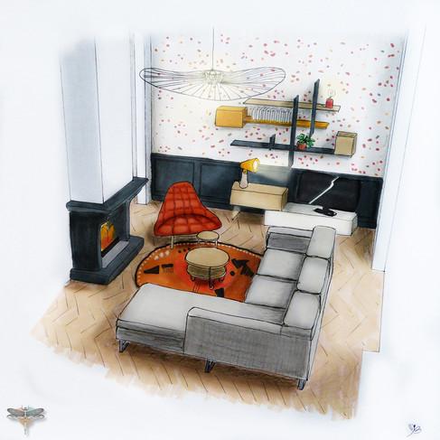 Croquis d'un salon cosy contemporain en perspective 3D couleur réalisé à la main avec rotring et promarker. Coralie Vasseur est votre décoratrice d'intérieur UFDI à Compiegne, Chantilly, Paris, Lille, Lyon, Annecy, Bordeaux. Carnets Libellule dessine vos intérieurs