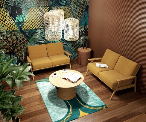 Rendu 3D photoréaliste d'un accueil d'entreprise dans une ambiance jungle à Lille. Coralie Vasseur est votre décoratrice d'intérieur UFDI à Compiegne, Chantilly, Paris, Lille, Lyon, Annecy, Bordeaux. Carnets Libellule dessine vos intérieurs