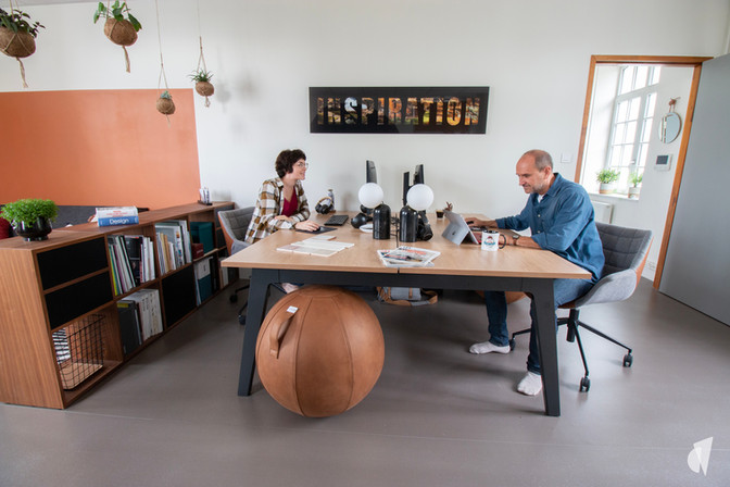 Aménagement et décoration des bureaux d'une startup à Senlis, par l'agence Coralie Vasseur. Coralie Vasseur est votre architecte d'intérieur et décoratrice UFDI à Annecy, Genève et en Haute Savoie : bureau bench et seatball, séparation bibliothèque