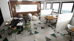 Rendu 3D photoréaliste d'un espace de coworking