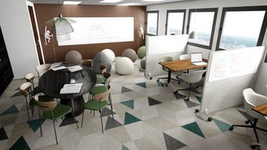 Rendu 3D photoréaliste pour un espace de coworking à Lille dans un esprit jungle. Coralie Vasseur est votre décoratrice d'intérieur UFDI à Compiegne, Chantilly, Paris, Lille, Lyon, Annecy, Bordeaux. Carnets Libellule dessine vos intérieurs