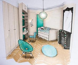 Dessin d'un projet de chambre de fille par Carnets Libellule, Décoratrice UFDI sur Paris.