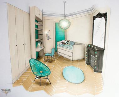 Croquis d'une chambre de jeune fille réalisé à la main avec rotring et promarker. Coralie Vasseur est votre décoratrice d'intérieur UFDI à Compiegne, Chantilly, Paris, Lille, Lyon, Annecy, Bordeaux. Carnets Libellule dessine vos intérieurs