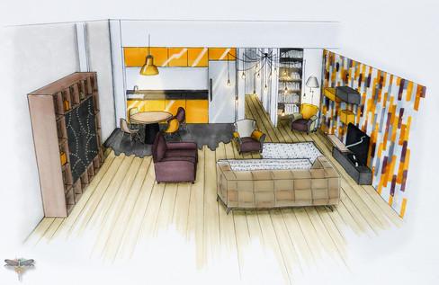 Croquis d'un loft industriel en couleur réalisé à la main avec rotring et promarker. Coralie Vasseur est votre décoratrice d'intérieur UFDI à Compiegne, Chantilly, Paris, Lille, Lyon, Annecy, Bordeaux. Carnets Libellule dessine vos intérieurs