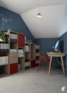 Aménagement et décoration d'un loft industriel street art à Genève, par le Studio Coralie Vasseur. Coralie Vasseur est votre architecte d'intérieur et décoratrice UFDI à Annecy, Genève et en Haute Savoie : espace bureau home office en mezzanine avec rangement sur mesure et chaise design