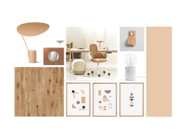 Planche d'ambiance pour un bureau à la maison, couleurs douces pour ce home office. Coralie Vasseur est votre décoratrice d'intérieur UFDI à Compiegne, Chantilly, Paris, Lille, Lyon, Annecy, Bordeaux. Carnets Libellule dessine vos intérieurs
