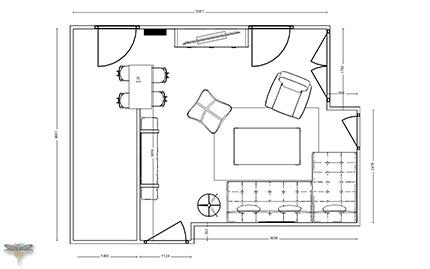 Plan côté 2D studio appartement