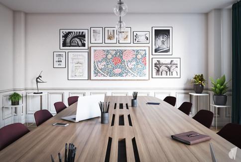 Création d'un cabinet dentaire, par l'agence Coralie Vasseur. Coralie Vasseur est votre architecte d'intérieur et décoratrice UFDI à Annecy, Genève et en Haute Savoie : salle de conférences avec grande table de réunion et tv murale mêlée aux œuvres d'art comme une galerie