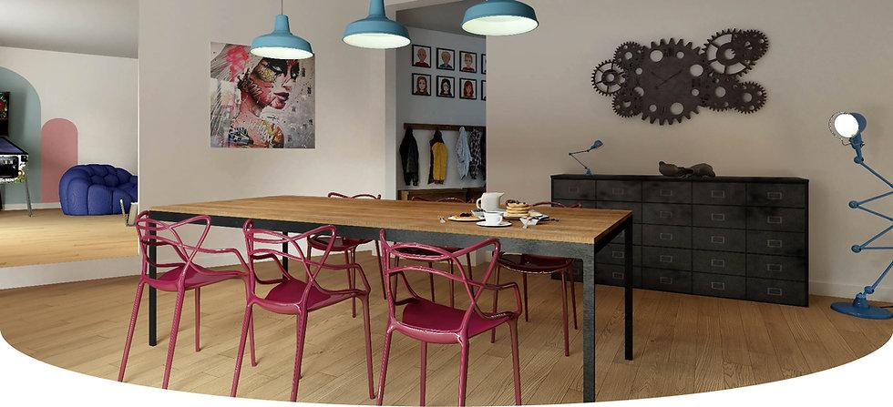 Décoration d'un loft industriel street art par le studio Coralie Vasseur, architecte d'intérieur et décoratrice à Annecy